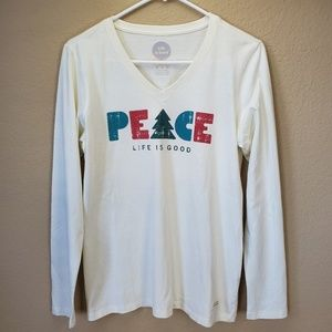Life Is Good Peace Cream Long Sleeve Top S